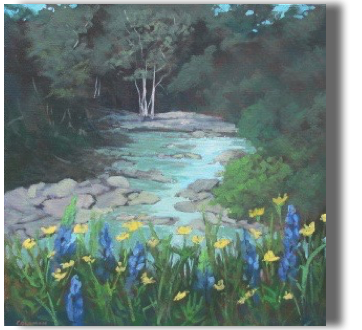 Lupines at Creekside Acrylic 20x20
